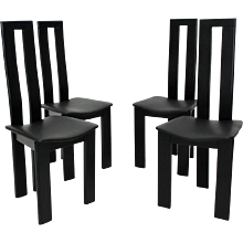 Four Black Dining Room Chairs by Pietro Constantini 1970 Italy