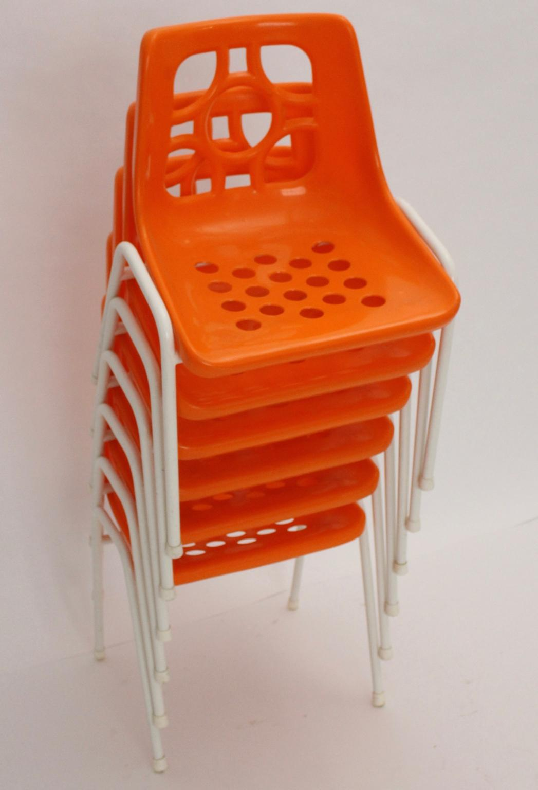 Orange Plastic Stacking Chairs 1960s From Nobarock On Rubylux