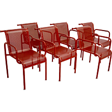 Six Red Metal Chairs by Sonett 1970s Austria