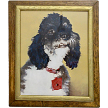 Painting with a poodle motif 1950s