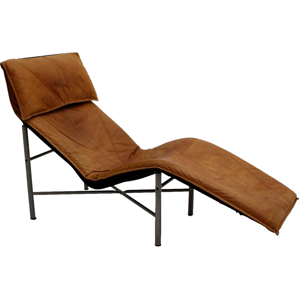 Cognac leather chaise longue by lord bjorklund sweden for Annabelle chaise