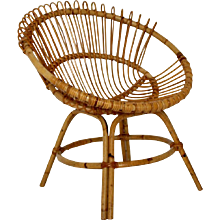 Mid Century Modern Rattan Chair by Janine Abraham & Dirk Jan Rol attr. France 1960s