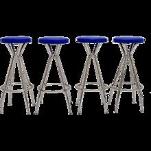 Set of four blue Barstools 1950s Austria