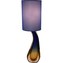Blue Glass Table Lamp by Flavio Poli 1950s Italy