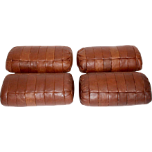 Set of four cognac Leather Pillows by De Sede 1970s Switzerland