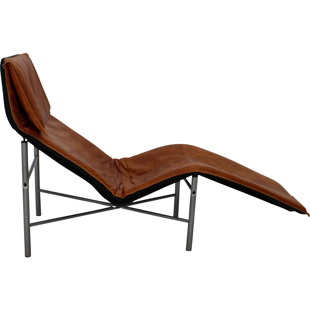 Cognac leather chaise longue by tord bjorklund 1970 sweden for Annabelle chaise