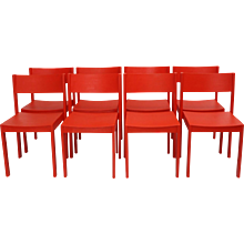 Mid Century Modern Red Dining Room Chairs by Carl Auböck 1956 Vienna