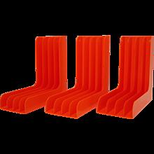 Set of three orange shellac vinyl record or magazine rack 1970s