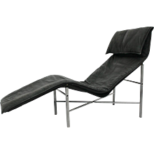 Black Leather Chaise Long by Tord Bjorklund 1970s Sweden