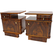 Pair of walnut Art Deco Nightstands Austria 1930s