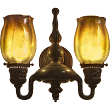 Pair of Tiffany Studios Bronze and Favrile Glass Double Sconces