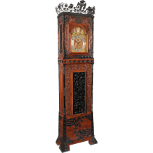 Aesthetic Movement Oak and Wrought Iron Tall Case Clock