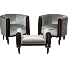Paul Poiret Club Chairs and Ottoman