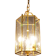 Brass Faceted Glass Pendant. Lantern