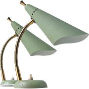 Mid-Century Goose Neck Table Lamp Attributed to Stilnovo or Arredoluce