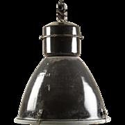 Large Black Czech Factory, Industrial Pendant Lamp