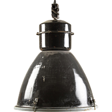 Large Black Czech Factory, Industrial Pendant Lamp