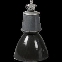 Large Black Gray Czech Factory, Industrial Pendant Lamp