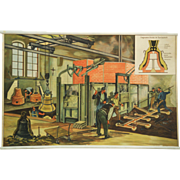 "German School, Teaching Chart, Poster ""Bell-Foundry"""
