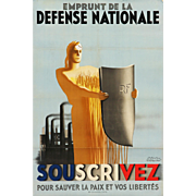 "Poster By Paul Emile Colin ""Emprunt de la défense nationale"""
