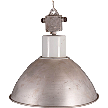 Large Gray Czech Factory, Industrial Pendant Lamp