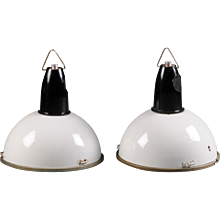 Large Black & White Czech Factory, Industrial Pendant Lamp