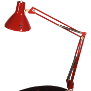 Red Desk, Table Lamp By Luxo