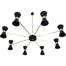 Large Double Coned Mid-Century Chandelier in the Art of Stilnovo
