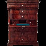 Late Biedermeier Mahogany Chiffonier, c. 1840, with writing drawer
