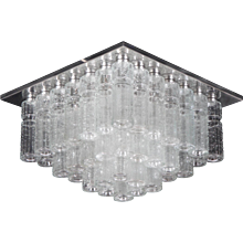 Vintage Flush Mounth Chandelier With Hand Blow Glass Prisms