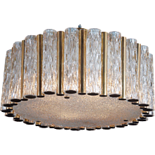 Mid-Century Ice Glass Chandelier by Kaiser Leuchten