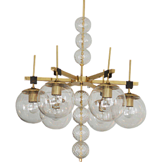 Large Chandelier with Hand Blow Crystal Glasses
