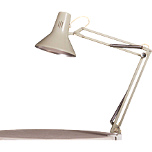 Small Grey Desk, Table Lamp by Luxo