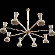 Large Brass Chandelier Attributed to Stilnovo