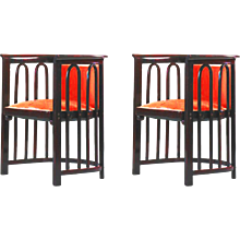 Pair Jacob & Josef Kohn Austria Armchairs attributed to Josef Hoffmann