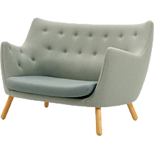 Two-seater sofa with beech legs by Finn Juhl