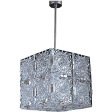 Mid-Century Cube Form Pendant Ceiling Fixture Featuring Etched Glass by Kalmar