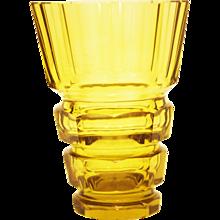 Yellow Art Deco Bohemian Crystal Glass Vase