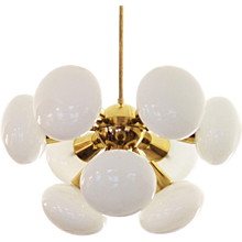 Mid-Century Sputnik Milk Glass Chandelier