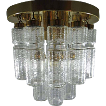 Vintage Flush Mount Chandelier with Hand Blow Glass Prisms