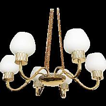 Swedish Brass Chandelier with Opaline Glass Shades by Josef Frank