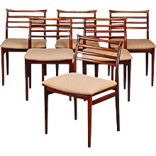 Set of Six Solid Rosewood Dining Chairs by Erling Torvits