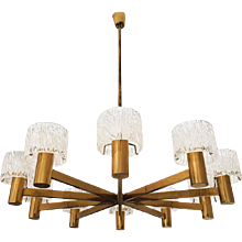 Large Brass Crystal Chandelier by Carl Fagerlund for Orrefors
