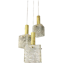 Cascading Textured Glass and Brass Chandelier by J.T. Kalmar