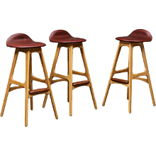 Set of Three Erik Buck OD61 Oak Counter Stools
