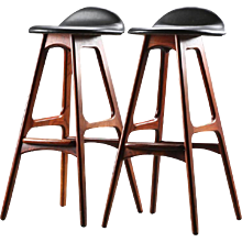 Set of Two Rosewood and Leather Bar Stools by Erik Buch