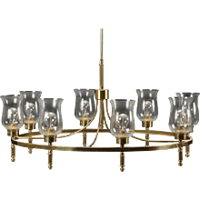 Large Brass Chandelier by Svend Mejlstrøm