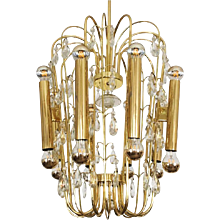 Austrian Brass and Cut Crystal Chandelier