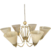 Mid-Century Brass Chandelierb