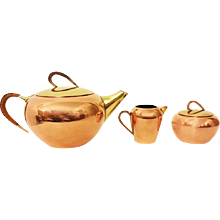 Brass and Copper Three-Piece Tea Set from the 1950s